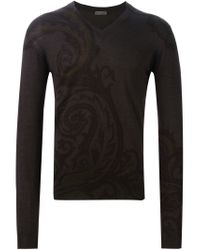 Etro - Brown Paisley Print Sweater for Men - Lyst