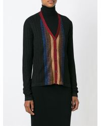 Marco De Vincenzo - Black Cable Knit Striped Cardigan - Lyst