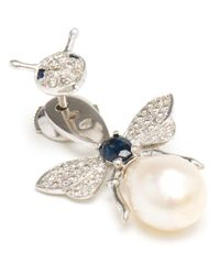 Yvonne Léon   White Pearl And Diamond Bee Lobe Earring   Lyst