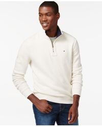 Tommy Hilfiger - White French Rib Quarter-zip Mock-collar Sweater for Men - Lyst