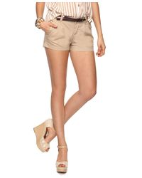 Forever 21 - Natural Belted Woven Shorts - Lyst