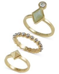 French Connection - Metallic Gold-tone Ring Trio - Lyst
