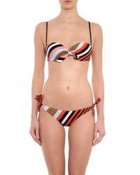 Fendi - Red Diagonal-Stripe Bandeau Bikini - Lyst