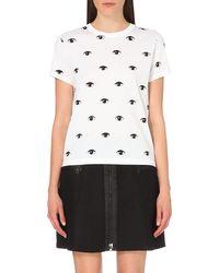 KENZO - White Eye-print Cotton-jersey T-shirt - Lyst