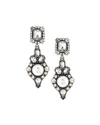 Lydell NYC - White Vintage-style Pearly & Crystal Drop Earrings - Lyst