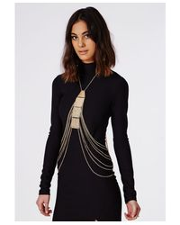 Missguided | Metallic Plate Detail Body Harness Gold | Lyst