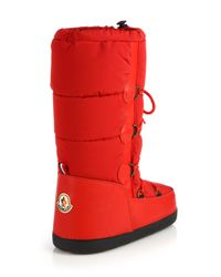 Moncler | Red Quilted Lace-Up Moon Boots | Lyst