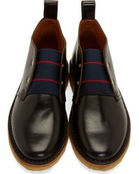 Band of Outsiders - Black Leather Slip_On Desert Boots for Men - Lyst