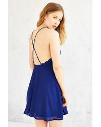 Kimchi Blue | Blue Deep-v Scallop-edge Strappy-back Dress | Lyst