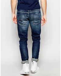 DIESEL - Jeans Tepphar 850k Skinny Fit Stretch Dirty Dark Blue Wash for Men - Lyst