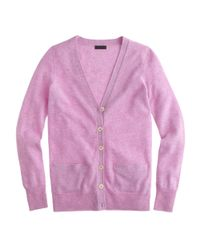 J.Crew | Purple Collection Cashmere Boyfriend Cardigan Sweater | Lyst