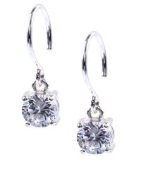Anne Klein | Metallic Silvertone Cubic Zirconia Drop Earrings | Lyst