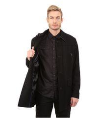 Cole Haan | Black Melton Shirt Collar Coat for Men | Lyst