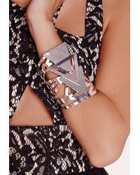 Missguided - Metallic Statement Triangle Cuff Silver - Lyst