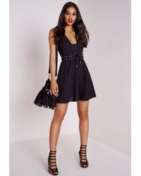 Missguided - Lace Up Front Skater Dress Black - Lyst