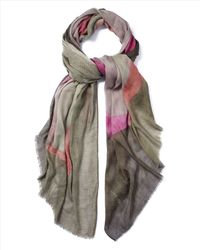 Jaeger - Pink Wool-Blend Abstract Scarf - Lyst