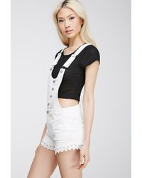 Forever 21 - Natural Crochet-trimmed Overall Shorts - Lyst