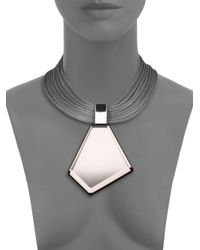 Lafayette 148 New York - Gray Mirrored Lucite Pendant Necklace - Lyst