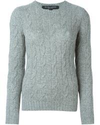 Ralph Lauren Black Label - Gray Cable Knit Crew Neck Sweater - Lyst
