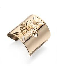 Fiorelli Costume - Metallic Large Gold Cut Out Pattern Cuff Bangle - Lyst