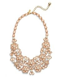 kate spade new york | Pink 'at First Blush' Floral Bib Necklace | Lyst
