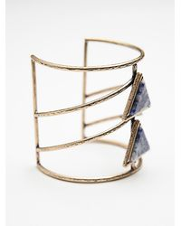 Free People | Blue Womens Caged Stone Cuff | Lyst