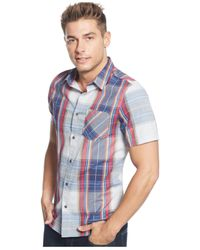 Guess | Blue Lincoln Dobby Plaid Shirt for Men | Lyst