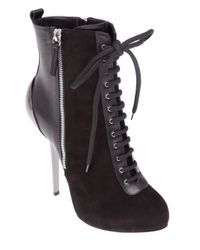 Giuseppe Zanotti | Black Lace Up Ankle Boot | Lyst