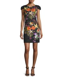 Maia - Black Floral-print Cap-sleeve Scuba Dress - Lyst