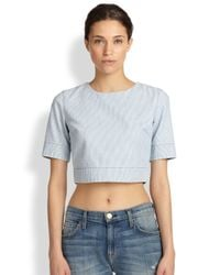 3x1 Blue Striped Cotton Cropped Top
