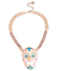 Betsey Johnson - Metallic Gold-tone Glittery Pink Skull Necklace - Lyst