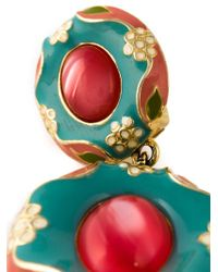Moschino | Blue Flower Motif Pendant Earrings | Lyst