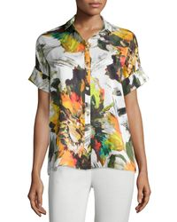 Lafayette 148 New York - Multicolor Britlee Abstract-floral Short-sleeve Silk Blouse - Lyst