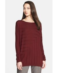 St. John - Red Angled Rib Knit Sweater - Lyst