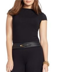 Lauren by Ralph Lauren | Black Plus Cap-sleeved Top | Lyst