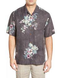 Tommy Bahama - Black 'moonlit Garden' Island Modern Fit Floral Print Silk Camp Shirt for Men - Lyst