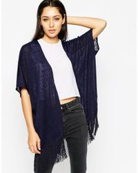 AX Paris - Blue Knitted Kimono Top - Lyst
