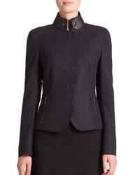 Akris Punto - Black Leather-collar Snap-front Jacket - Lyst