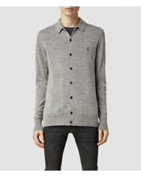 AllSaints - Gray Mode Merino Polo Cardigan for Men - Lyst