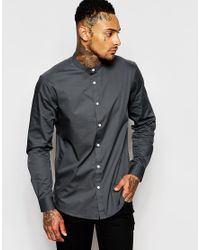 ASOS - Gray Shirt In Grey With Grandad Collar In Regular Fit for Men - Lyst