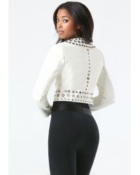 Bebe | White Leather Grommet Jacket | Lyst