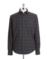 Original Penguin | Gray Striped Flannel Shirt for Men | Lyst
