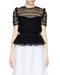 Erdem - Black Alma Crocheted Lace Peplum Top - Lyst