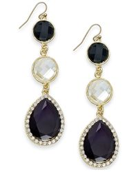 INC International Concepts | Black Gold-tone Jet Stone And Crystal Triple Drop Earrings | Lyst