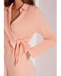Missguided | Natural Wrap Front Shirt Playsuit Nude | Lyst