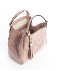 Gucci - Pink Dark Powder Patent Leather Soho Shoulder Bag - Lyst