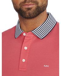 Michael Kors | Pink Regular Fit Striped Collar Logo Polo for Men | Lyst