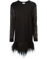 MICHAEL Michael Kors   Black Feather Sweatshirt Dress   Lyst