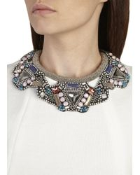 Nocturne - Gray Sana Crystal Embellished Necklace - Lyst