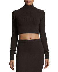 Jason Wu - Brown Ribbed Turtleneck Crop Sweater - Lyst